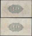London Coins : A167 : Lot 1287 : Ten Shillings Fisher 1919 issues (2) comprising the 2 varieties T25 Dot in No. serial number G/44 30...