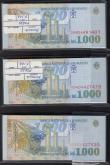 London Coins : A167 : Lot 1587 : Romania National Bank 1000 Lei Pick 106 dated 1998 (300) in 3 bundles of 100 notes each. One of the ...