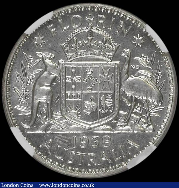 Australia Florin 1938 Proof KM#40 in an NGC holder and graded PF65, the finest known of 7 examples thus far graded by NGC, the first Proof striking of the new Kangaroo, Emu and Coat of Arms design introduced for George VI. Extremely rare with a mintage of just 250 pieces  : World Coins : Auction 167 : Lot 1863