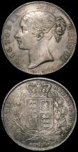 London Coins : A167 : Lot 2410 : Crowns (2) 1845 Cinquefoil stops on edge, ESC 282, Bull 2564, the edge ex-swivel mount at 3 and 9 o&...