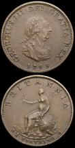 London Coins : A167 : Lot 2428 : Farthings (2) 1799 3 Berries Peck 1279 UNC with minor cabinet friction and a few small tone spots, 1...
