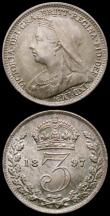 London Coins : A167 : Lot 2549 : Threepences (3) 1895 ESC 2107, Bull 3447, 1897 ESC 2109, Bull 3449, 1900 ESC 2112, Bull 3453, all UN...