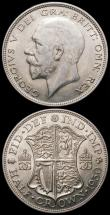 London Coins : A168 : Lot 1403 : Halfcrowns (2) 1925 ESC 772, Bull 3727 VF or slightly better with some lustre and some toning on eit...