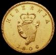 London Coins : A168 : Lot 2030 : Ireland Farthing 1806 6 over 5 Gilt Pattern restrike S.6622, 4.33 grammes, GEF with a few small spot...