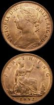 London Coins : A168 : Lot 2143 : Farthings (2) 1867 Freeman 516 dies 3+B UNC with around 20% lustre, Ex-Farthing Specialist 2/2/1980,...