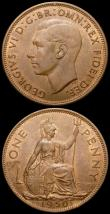 London Coins : A168 : Lot 2243 : Pennies (2) 1950 Freeman 240 dies 3+C UNC or very near so with traces of lustre, 1951 Freeman 242 di...