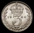London Coins : A168 : Lot 2348 : Threepence 1906 ESC 2119, Bull 3622 UNC and lustrous, the obverse with a few very minor hairlines, t...