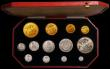 London Coins : A168 : Lot 467 : Proof Set 1902 Long Matt Set (13 coins) Gold Five Pounds, Two Pounds, Sovereign and Half Sovereign, ...