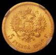 London Coins : A168 : Lot 839 : Russia 5 Roubles Gold 1902AP Y#62 in an NGC holder and graded MS65