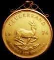 London Coins : A168 : Lot 848 : South Africa Krugerrand 1974 KM#73 EF in a 9 carat pendant mount, the coin possibly removable withou...