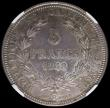 London Coins : A169 : Lot 1099 : Swiss Cantons - Geneva Five Francs 1848 KM#137 in an NGC holder and graded MS61. Rare with a tiny mi...