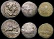 London Coins : A169 : Lot 1147 : Roman (6) Antoninianus Tetricus II Reverse: Sacrificial implements, Cunetion 2590, RIC 255var, portr...