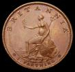 London Coins : A169 : Lot 1361 : Farthing 1799 Bronzed Proof Peck 1273 KF8 Obverse: The dot on the shoulder is slightly more to the l...