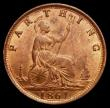 London Coins : A169 : Lot 1397 : Farthing 1861 4 Berries, Freeman 502 dies 2+B a most attractive example displaying around 60% mint l...