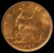 London Coins : A169 : Lot 1416 : Farthing 1886 Freeman 557 dies 7+F A superb choice piece with around 85% mint lustre enhanced by tou...