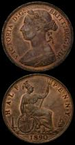London Coins : A169 : Lot 1607 : Halfpennies (2) 1887 Freeman 358 dies 17+S UNC with good subdued lustre, 1890 Freeman 362 dies 17+S ...