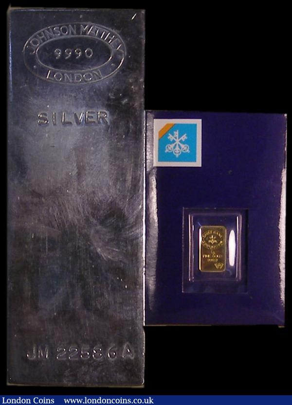Silver Ingot One Kilo .999 silver by Johnson Matthey, London, and Gold Ingot One gramme of .999 gold by Swiss Bank Corporation, this in a sealed pack, EF to UNC : Misc Items : Auction 169 : Lot 386