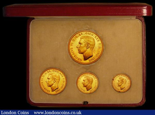 Proof set 1937 (4 coins) Gold Five Pounds, Two Pounds, Sovereign and Half Sovereign UNC to nFDC the Sovereign and Half Sovereign with some tone spots, retaining much original mint brilliance, in the original box of issue : English Cased : Auction 169 : Lot 568