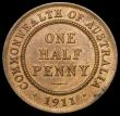 London Coins : A169 : Lot 832 : Australia Halfpenny 1911 KM#22 A/UNC with good subdued lustre and a few small tone spots