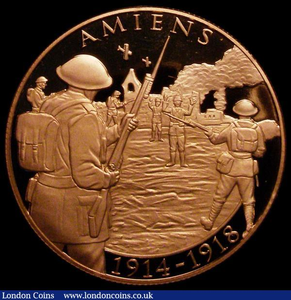 Gibraltar Five Pounds 2018 Centenary of the End of World War I - Amiens Gold Proof Piedfort, Obverse: Bust of Queen Elizabeth II right, Reverse: Amiens Battle scene AMIENS 1914-1918, weight 79.50 grammes, a very rare modern issue with just 25 pieces minted, uncased. The release of these coins by the Tower Mint was commemorated by a visit from Simon Weston, the inspirational Falklands War veteran, survivor of the worst attack on British Force during the conflict. Simon himself struck the first Sovereign coin : World Coins : Auction 170 : Lot 1032