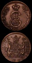 London Coins : A170 : Lot 1160 : Russia - Siberia Fantasy Copper Novodel (2) 2 Kopeck 1767with lettered edge and Denga 1764 with obli...