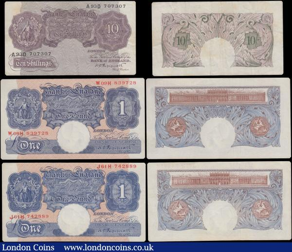 Bank of England (6) a selection of examples from the various Peppiatt periods in mixed circulated but presentable grades VF-EF and consisting of a First Period 1 Pound B238 Pre-war Unthreaded issue 1934 serial number H14A 141281. Second Period World War II Emergency issues 1940 (3) 1 Pounds B249 Pink/Blue (2) serial numbers W09H 839728 & J61H 742889, along with a 10 Shillings B251 Mauve serial number A93D 707307. And finally, a Fourth Period 10 Shillings B262 Threaded serial number 97H 520033. A collectible and attractive group : English Banknotes : Auction 170 : Lot 14