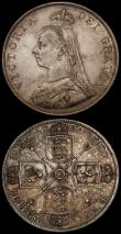 London Coins : A170 : Lot 1459 : Double Florins (2) 1888 Second I in VICTORIA an Inverted 1 ESC 397A, Bull 2700 NEF/GVF toned with so...