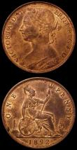 London Coins : A170 : Lot 1925 : Pennies (2) 1887 Freeman 125 dies 12+N, UNC or near so with traces of lustre and minor cabinet frict...