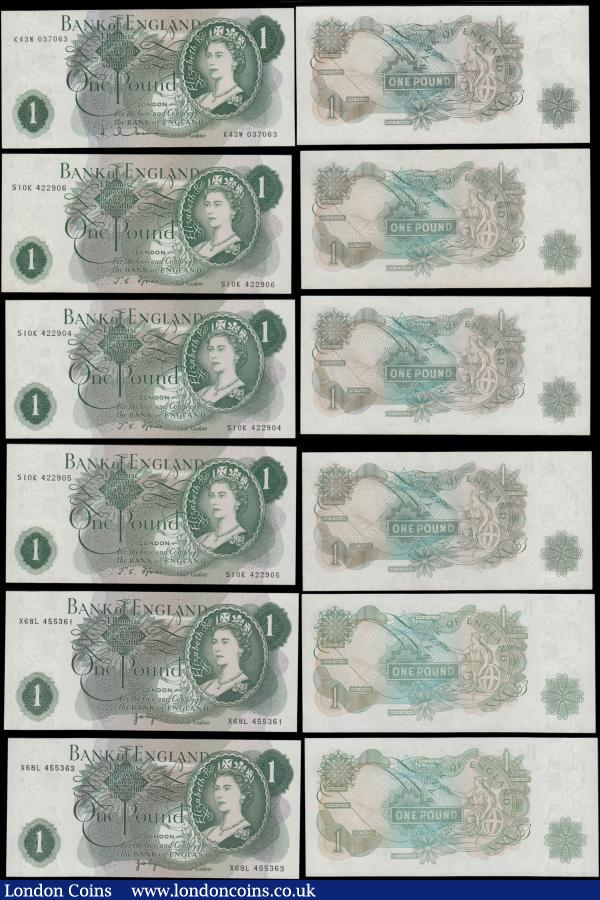 Bank of England (11) a high grade selection, mostly about UNC - UNC, of 1 Pounds QE2 portrait issues from various cashiers including Hollom B288 issue serial number K43W 037063. Fforde B305 issues (3) a consecutively numbered set serial numbers S10K 422901 - S10K 422903. Along with Page examples (7) in a near consecutively numbered set X68L 455361 - X68L 455368. : English Banknotes : Auction 170 : Lot 8