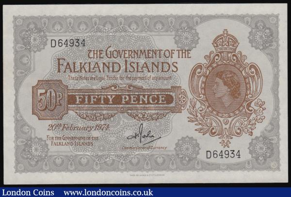 Falkland Islands 50 pence dated 1974 series D58924, QE2 portrait at right, Pick10a, UNC : World Banknotes : Auction 171 : Lot 110