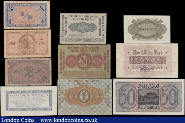 "Germany early to mid 1900's including some Military notes along with Federal Republic issues (10) all different issues and denominations in various grades Fine/VF-GVF to about UNC - UNC. 1 Billion Mark Traunstein NOTGELD dated 9th November 1923 with a purple stamp. Occupied Territories - Lithuania (3) consisting of 20 Kopeken (Kapeikas) Pick R120 dated 17th April 1916. 50 Kopeken (Kapeikas) Pick R121c dated 17th April 1916 and 1 Rubel (Rublis) Pick R122c dated 17th April 1916, both variety with last two words at right bottom on back ""ASTÛN GADEEM"" and clear printing. Reichskreditkasse World War II Occupied Territories (2) 2 Reichsmark Pick 137b ND 1940-45 and 8 digit serial variety, without embossed stamp together with 50 Reichsmark Pick R140 ND 1940-45 with embossed stamp. Also a Military Wehrmacht 5 Reichsmark Pick M39 Verrechnungsschein (Clearing Note) dated 15th September 1944, Intended for payments within the Wehrmacht, which superseded the 1942 ""Behelfszahlmittel"" (Auxiliary payment certificates). Accompanied by Federal Republic Scarce U.S. Army Command series of 1948 (3) consisting of a 1/2, 1 and 2 Marks Pick 1a, 2a and 3a respectively.  : World Banknotes : Auction 171 : Lot 126"