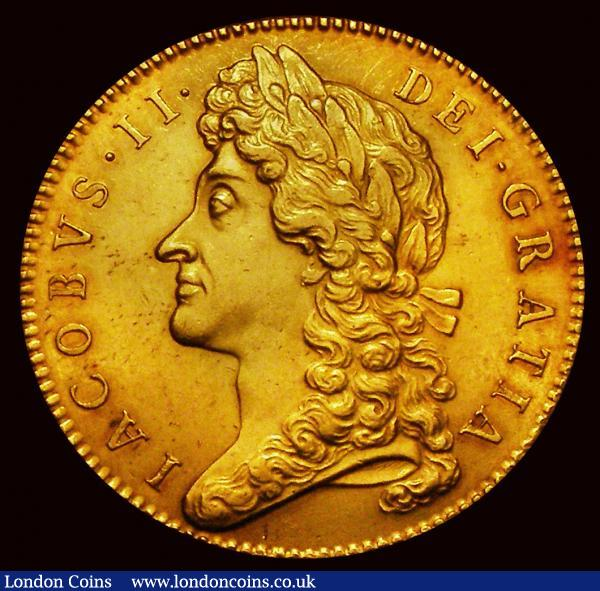 Five Guineas 1687 TERTIO second laureate bust S3397A better than EF with reflective almost prooflike fields with a pleasing orange/dark gold toning : English Coins : Auction 171 : Lot 1361
