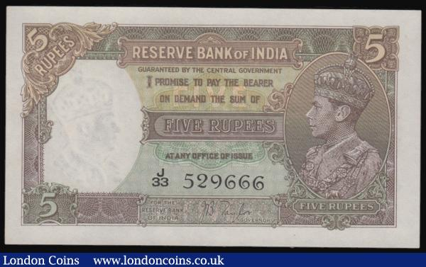 India 5 Rupees (1937) JB Taylor Pick 18 Unc : World Banknotes : Auction 171 : Lot 148