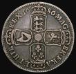 London Coins : A171 : Lot 1504 : Halfcrown 1686 TERTIO edge with V over S in IACOBVS ESC 496A, Bull 752 About Fine, toned with an edg...