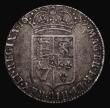 London Coins : A171 : Lot 1505 : Halfcrown 1689 First Shield Caul only frosted with pearls, the frosting very faint, ESC 505, Bull 83...