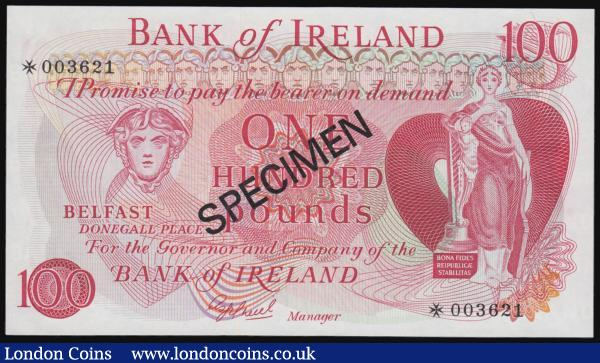 Ireland 100 Pounds Bank of Ireland SPECIMEN undated collectors specimen issue without date Unc : World Banknotes : Auction 171 : Lot 153