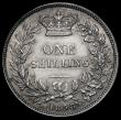 London Coins : A171 : Lot 1630 : Shilling 1858 8 over 9, Bull 3014, Davies dies 3A, Obverse: upright of the B of BRIT points to a bea...