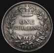London Coins : A171 : Lot 1633 : Shilling 1865 ESC 1313, Bull 3025, Die Number 1, UNC or near so, lightly toned over original lustre,...