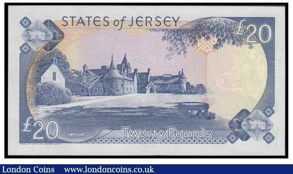 Jersey 20 Pounds Pick 23a (BY JE43a) ND 1993 signature George Baird and first prefix for this signature type serial number BC 500141, crisp about UNC - UNC : World Banknotes : Auction 171 : Lot 170