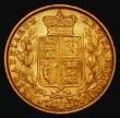 London Coins : A171 : Lot 1875 : Sovereign 1871S Shield Reverse, WW incuse on truncation, Marsh 69, S.3855A Fine/NVF
