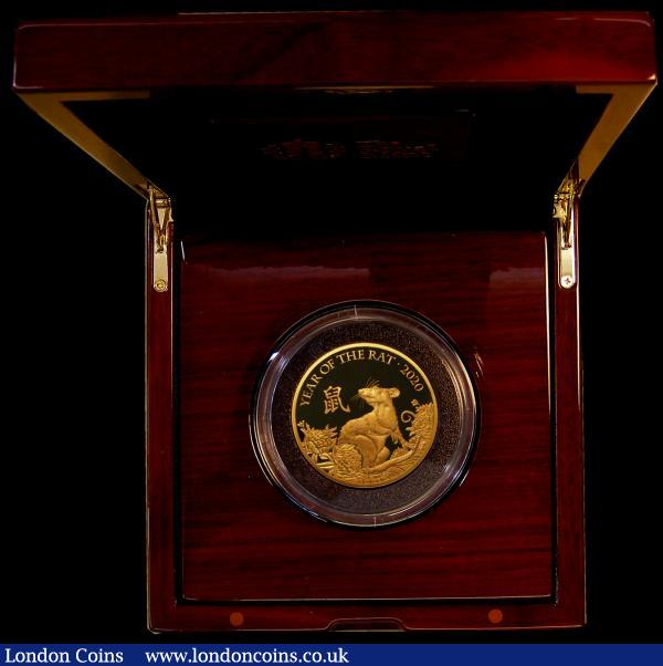 Five Hundred Pounds 2020 Sheng Xiao Collection - Chinese Lunar Year of the Rat 5oz. Gold Proof Reverse: a finely styled representation by P.J.Lynch, FDC in the Royal Mint red box of issue with certificate and booklet. Number 10 of just 30 pieces minted, with just 28 in this presentation format, with very low mintage figures, this promises to be a future sought after series.  : English Cased : Auction 171 : Lot 278