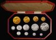 London Coins : A171 : Lot 339 : Proof Set 1902 Long Matt Set (13 coins) Gold Five Pounds, Two Pounds, Sovereign, Half Sovereign, Cro...