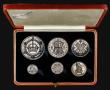 London Coins : A171 : Lot 343 : Proof Set 1927 (6 coins) Crown to Silver Threepence Bright UNC I the hard box of issue, the box with...