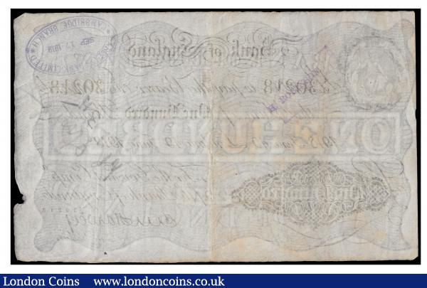 One Hundred Pounds Harvey. B209E. 19th June 1918. Prefix 8/0 30218. VF handstamp reverse some toning rare, Ex Spink Sale 19031 Lou Manzi Lot 2353 : English Banknotes : Auction 171 : Lot 36
