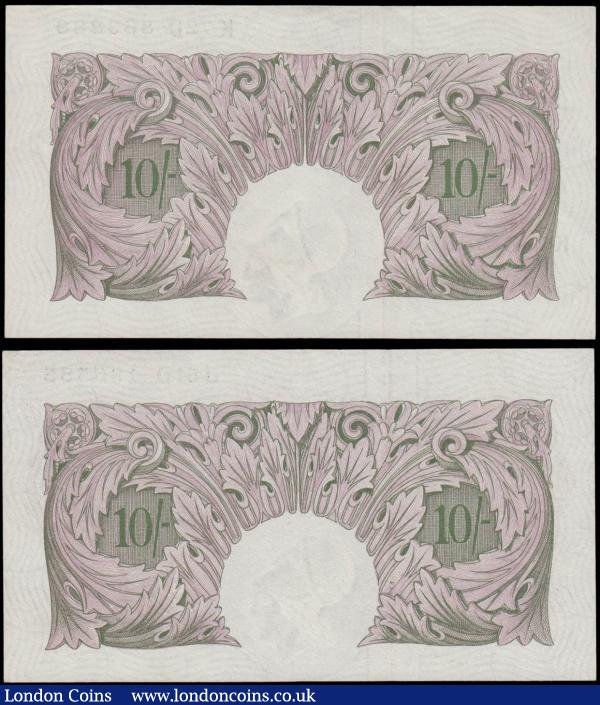 Ten Shillings Peppiatt B251 World War II Mauve Emergency issues 1940 (2) serial numbers J51D 486585 and K72D 863888. Both about UNC : English Banknotes : Auction 171 : Lot 46