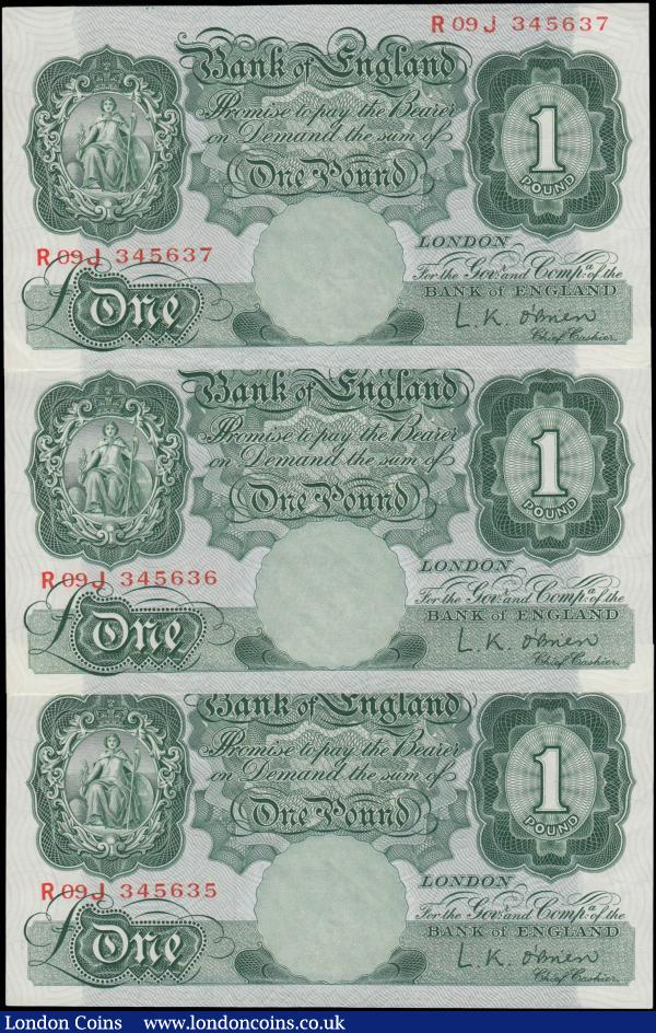 One Pounds O'Brien B273 Green Britannia medallion issues 1955 (3) a consecutively numbered trio serial numbers R09J 345635 - R09J 345637. All about UNC or near so : English Banknotes : Auction 171 : Lot 52
