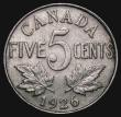 London Coins : A171 : Lot 558 : Canada 5 Cents 1926 Far 6 KM#29 Good Fine or better, Rare, one of the key varieties of the 20th Cent...