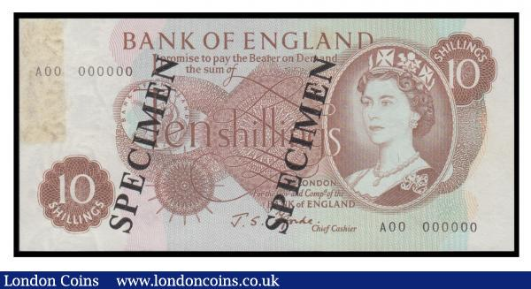 Ten Shillings Fforde. B309s SPECIMEN A00 000000 Ex Spink Sale 19031 Lot 2536 Unc but once mounted and with a faint brown stain left edge : English Banknotes : Auction 171 : Lot 57