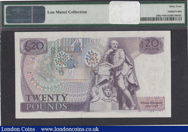 Twenty Pounds Fforde QE2 pictorial & William Shakespeare B319 Purple Replacement prefix M01 only issue 1970 series M01 020172 PMG Choice Uncirculated 64 desirable thus Ex Lou Manzi Collection : English Banknotes : Auction 171 : Lot 59