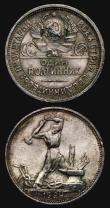 London Coins : A171 : Lot 693 : Russia (2) Rouble 1924 Y#90.1 EF lightly toned with some small edge nicks and some contact marks, 50...